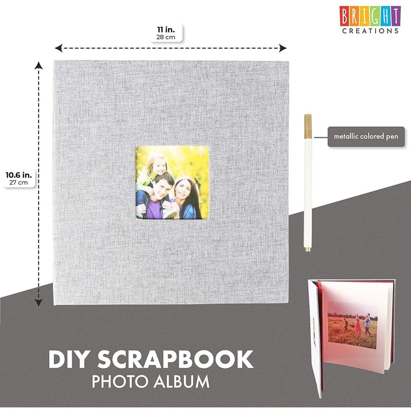 DIY Scrapbook Photo Album (Grey, 11 x 10.6 Inches)