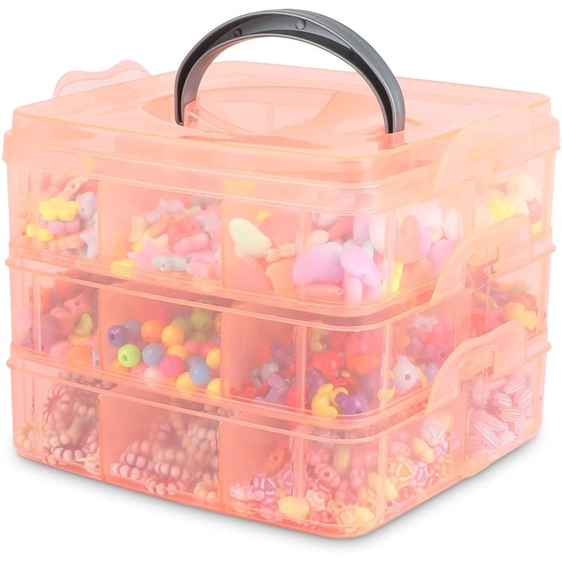 Bead Organizer Storage Case with Assorted Beads (Clear Pink)