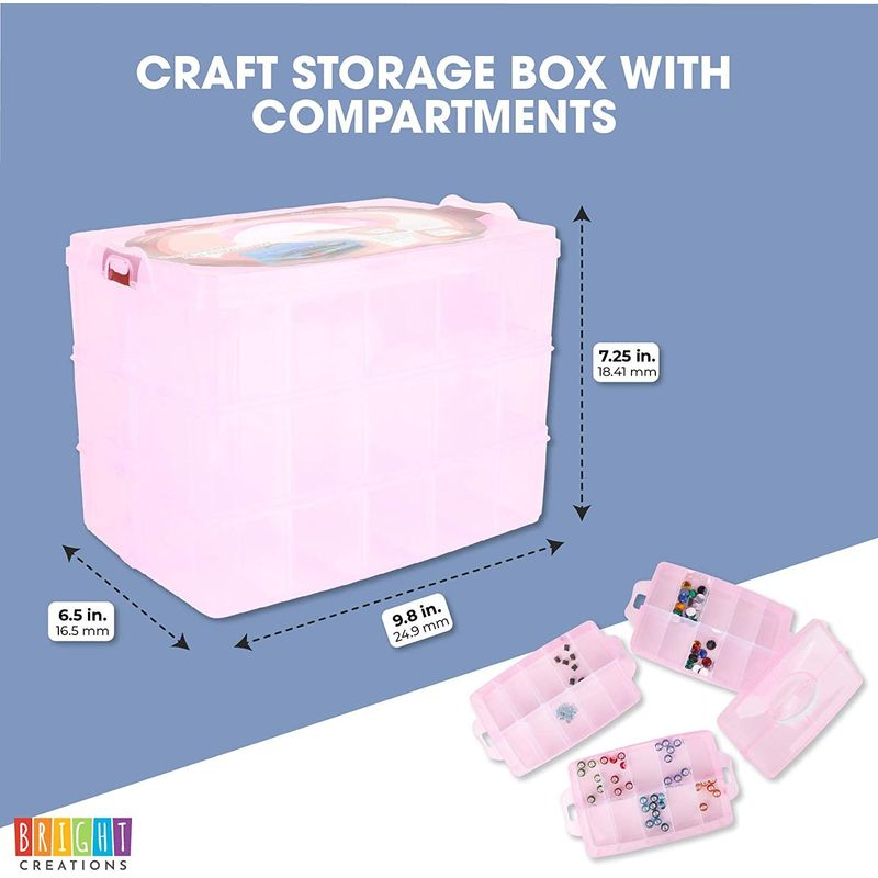 Clear Pink Bead Organizer, Storage Box with Compartments (9.8 x 6.5 x 7.25 in)