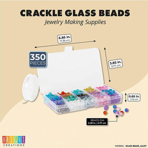 Crackle Glass Beads for DIY Jewelry Making (15 Colors, 350 Pieces)