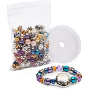 DIY Bracelet Making Kit with Beads and Elastic, 16 Bracelets (4 Colors)