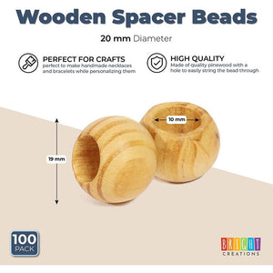 Wooden Spacer Beads, Round Loose Craft Bead Pack for DIY (20 mm, 100 Pieces)
