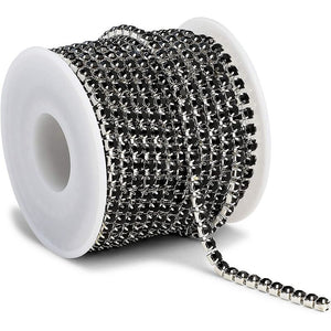Black Mesh Ribbon Chains for Wreaths, 4 mm Rhinestone Wraps (10 Yards)