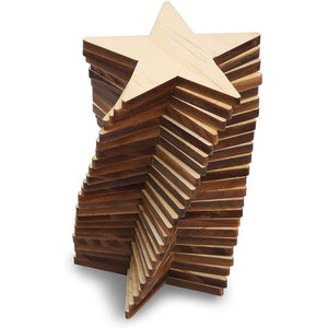 Wood Cutouts for Crafts, Star Cutout (3 In, 24 Pack)