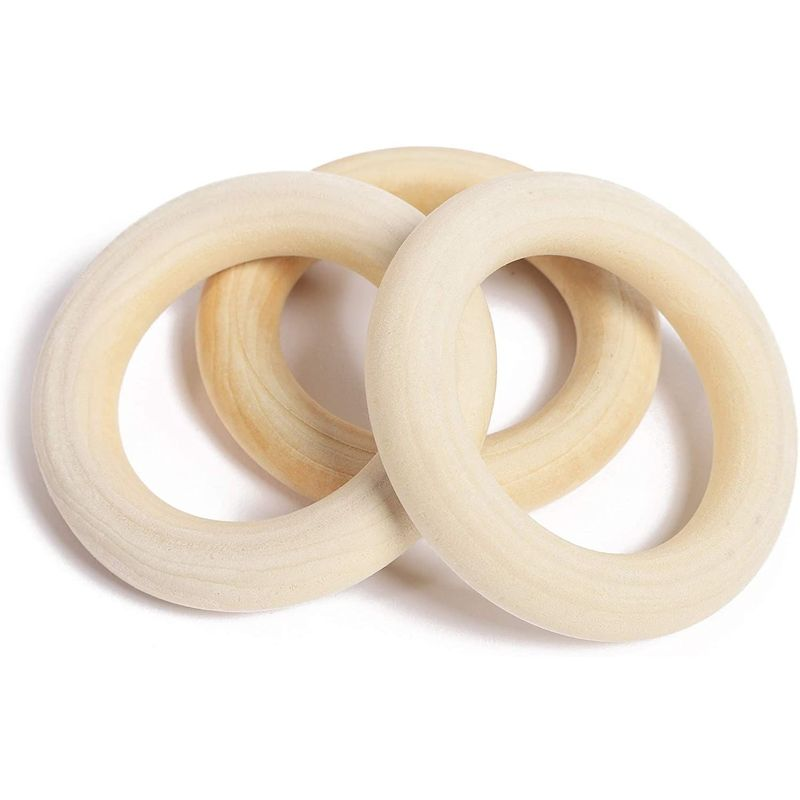 Wooden Beads and Rings Set for DIY Crafts and Macrame (80 Pieces)