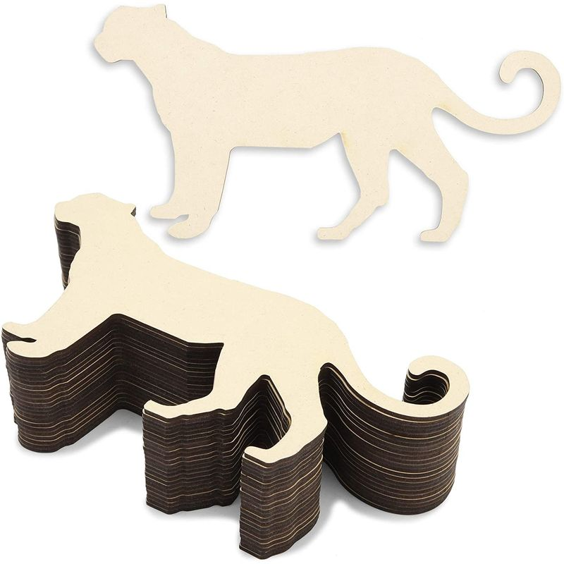 Unfinished Wood Cutouts for Crafts, Cheetah Shape (9 x 4.5 i