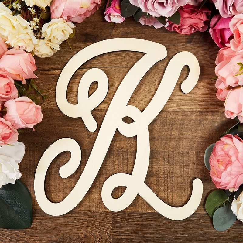 Wooden Monogram Alphabet Letters, Decorative Letter K (13 Inches)