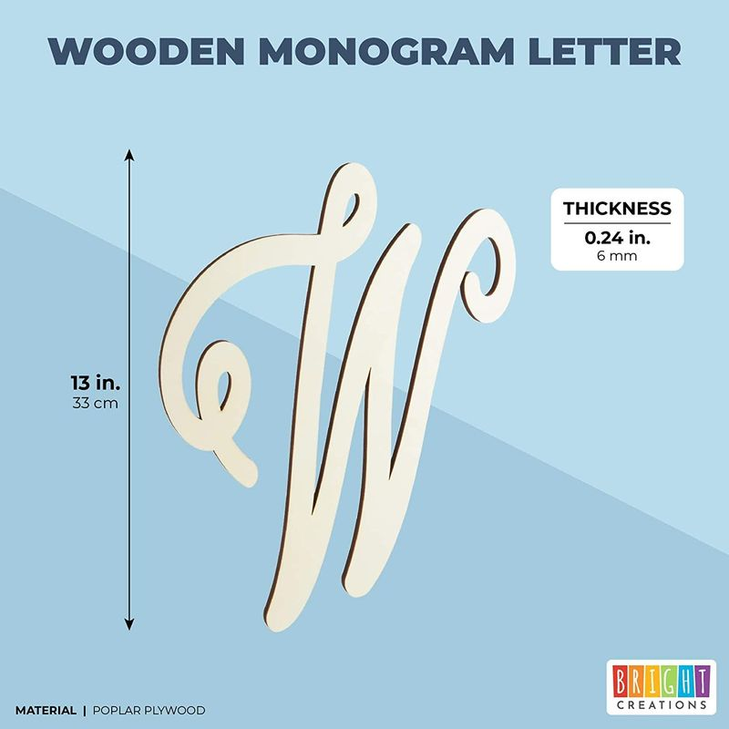 Wooden Monogram Alphabet Letters, Decorative Letter W (13 Inches)