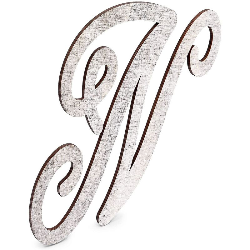 Wooden Monogram Alphabet Letters, Letter N for Crafts, Rustic Home Decor (13 in)