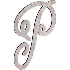 Wooden Monogram Alphabet Letters, Letter P for Crafts, Rustic Home Decor (13 in)