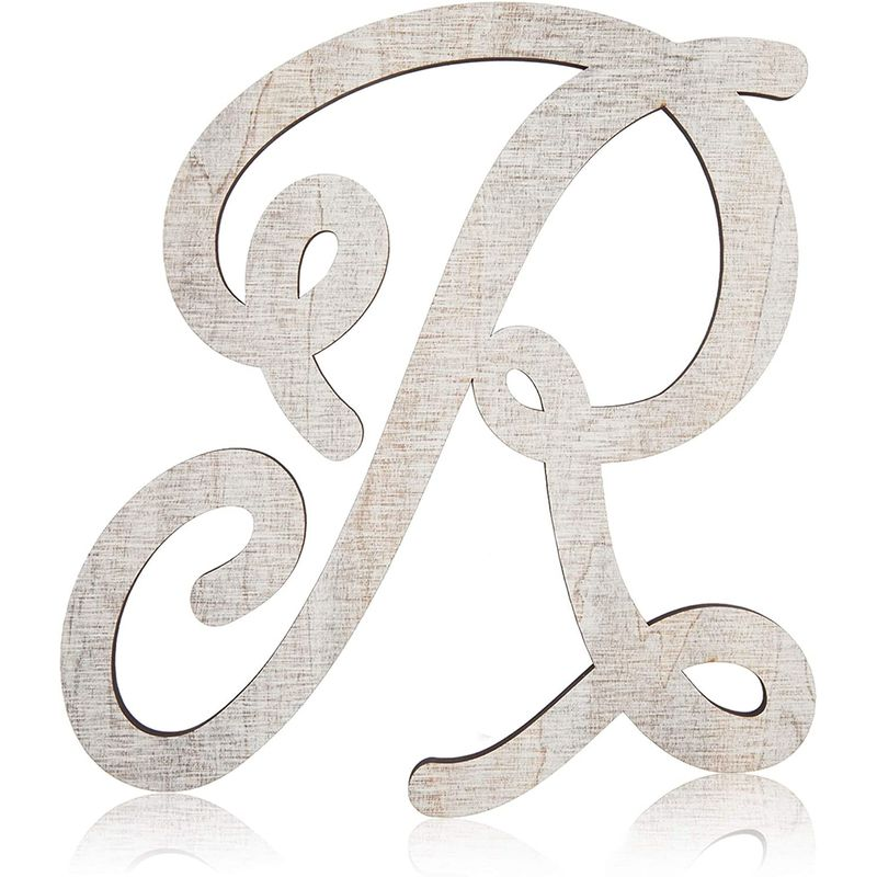 Wooden Monogram Alphabet Letters, Letter R for Crafts, Rustic Home Decor (13 in)