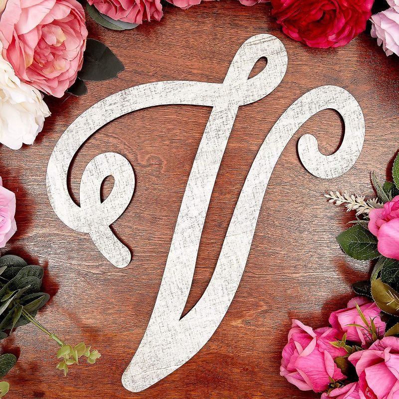 Wooden Monogram Alphabet Letters, Letter V for Crafts, Rustic Home Decor (13 in)