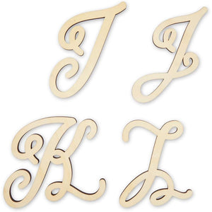 Unfinished Wooden Monogram Letters for Crafts, A-Z Alphabet (6 in, 26 Pieces)