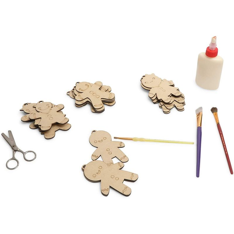 Unfinished Wooden Christmas Tree Ornaments, Gingerbread Men (3.2 x 4.7 in, 24 Pack)