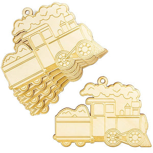 Wood Christmas Ornaments, Train Ornament (24 Pieces)