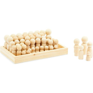 Unfinished Peg Dolls with Storage Case, Wooden Nesting Dolls (5 Sizes, 50 Pieces)
