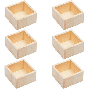 Bright Creations Unfinished Wooden Box Craft Storage Organizer, Planter (3.7 x 2 in, 6 Pack)
