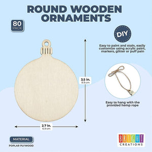 Unfinished Wood Circle Christmas Tree Ornaments for Crafts (80 Pack)