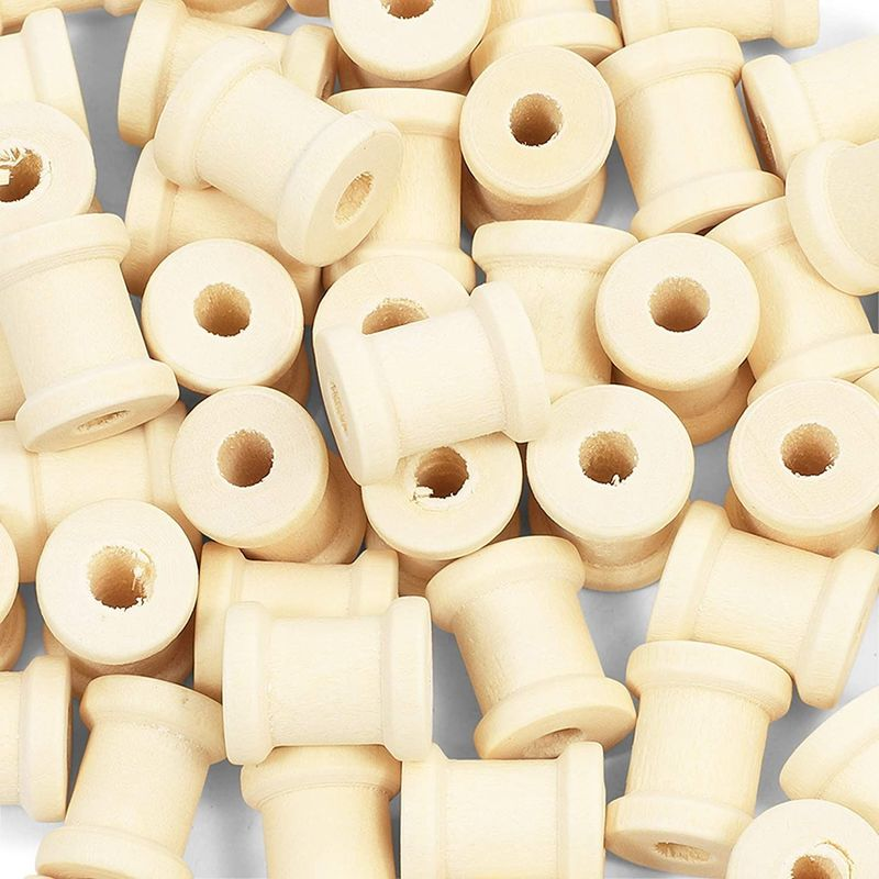 Empty Wooden Spools for Crafts (0.5 x 0.62 In, 50 Pack)