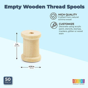 Empty Wooden Spools for Crafts (0.75 x 1 In, 50 Pack)