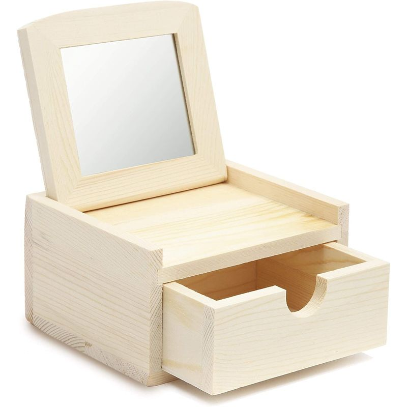 Unfinished Wood Jewelry Box with Mirror (4.6 x 4 x 2.6 In)