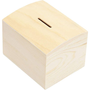 Unfinished Wood Money Box (3.9 x 3.1 x 2.9 in, 2 Pack)