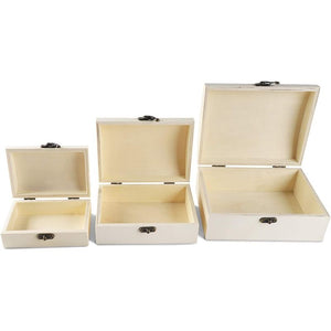 Unfinished Wood Box with Hinged Locking Lid, Wooden Jewelry