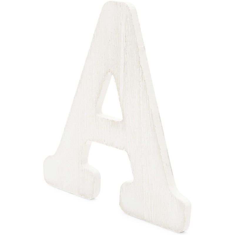 Standing Wooden Alphabet Letters for DIY Crafts, Farmhouse Wall Decor, Weddings (6 in, White, 26 Pieces)