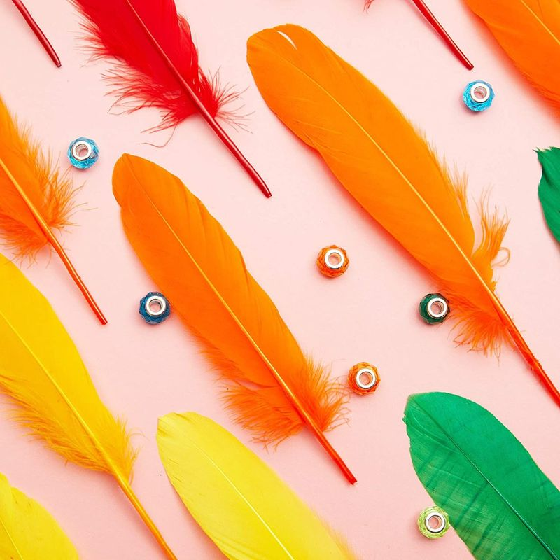 Goose Feathers for Crafts, Costumes, Decorations, 12 Colors (6-8 in, 150 Pieces)