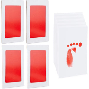 Baby Handprint and Footprint Kit, 4 Red Ink Pads, 10 Imprint Cards (14 Pieces)