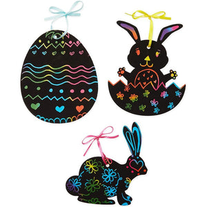 Easter Scratch Art Kit for Kids, Paper Ornaments with Bunny & Easter Eggs (120 Pieces)