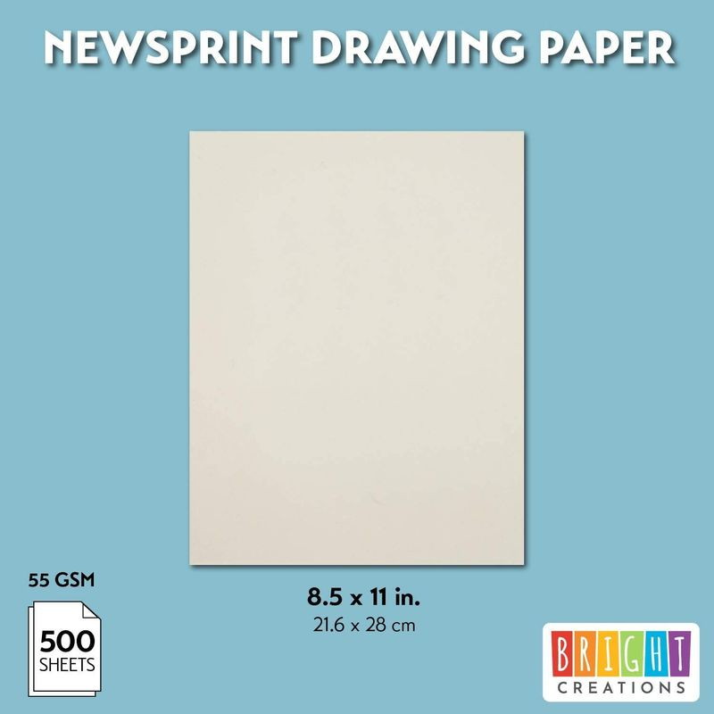 Newsprint Paper, Drawing Paper (11 x 8.5 in, 500 Sheets)