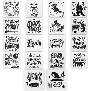 Halloween Stencils for Painting Supplies (5.1 x 5.1 Inches, 18 Pieces)
