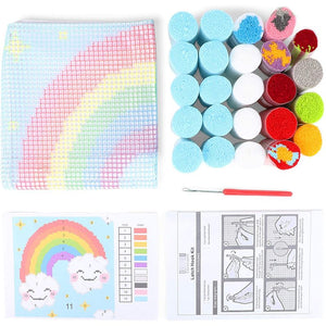 Rainbow Latch Hook Kit for Kids Beginners, Printed Canvas