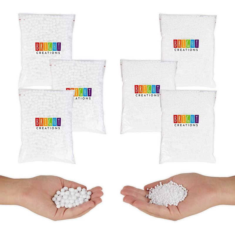 White Foam Beads for Slime, Art, Craft Supplies (0.3 oz, 6 Pack, 75,000 Pieces)