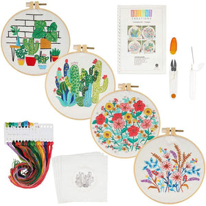 Hand Embroidery Kit, Yarn, Patterns, Hoops, Needles, Scissors (14 Pieces)