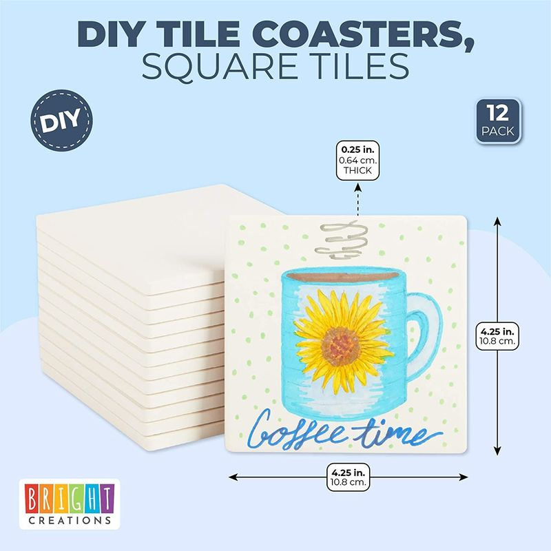 Blank Ceramic Tiles for Crafts, DIY Coasters, Unglazed (White, 4.25 In, 12 Pack)