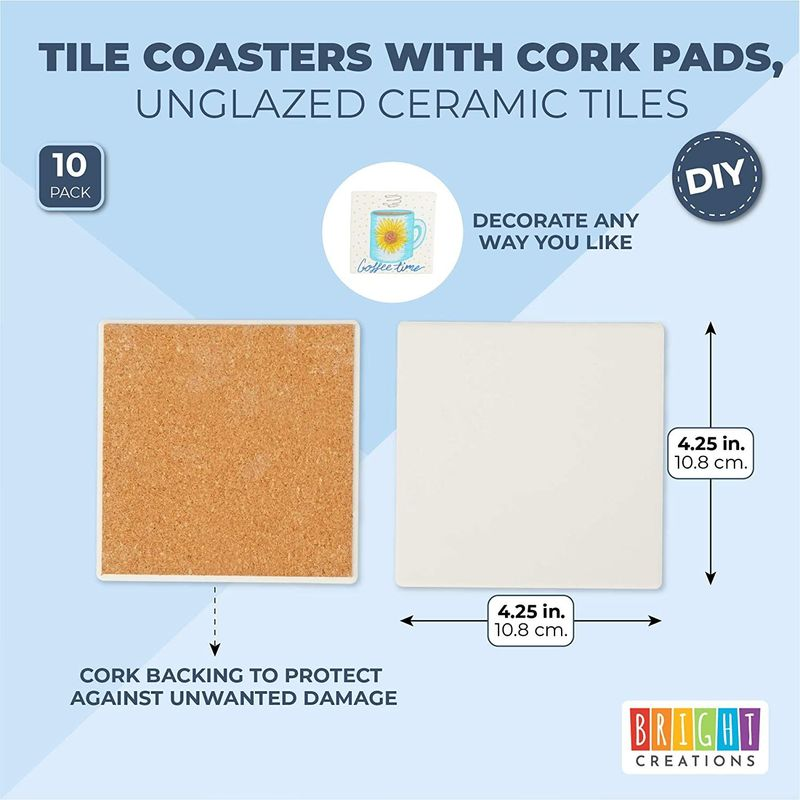 Blank Ceramic Tiles for Crafts, DIY Coasters, Unglazed (White, 4 In, 10 Pack)