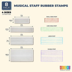 Music Staff Rubber Stamps for Teachers, Music Students, Crafts (4 Designs)