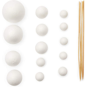 DIY Solar System Model Kit with Foam Balls and Bamboo Sticks (24 Pieces)