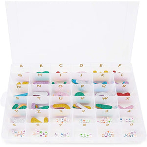 Bead Storage Organizer with Adjustable Dividers, Number Stickers (10.8 x 7 x 1.7 in)
