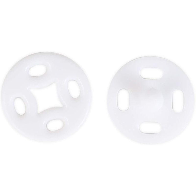 White Sew-On Snap Buttons, Sewing Supplies for Crafts (0.39 in, 500 Pairs)