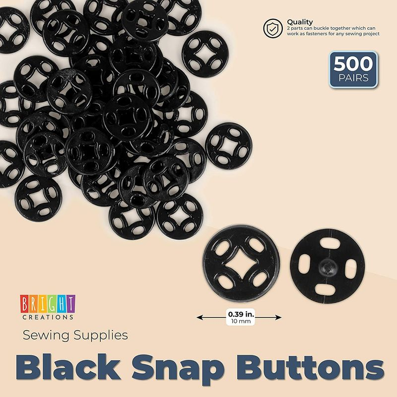 Black Sew-On Snap Buttons, Sewing Supplies for Crafts (0.39 in, 500 Pairs)