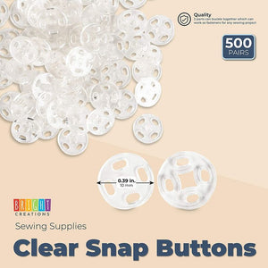 Clear Sew-On Snap Buttons for Sewing Supplies (10 mm, 500 Pairs)