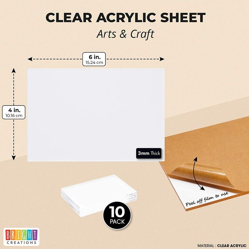 Clear Acrylic Sheet for Signs, Art, Crafts Supplies (4 x 6 Inches, 10 Pack)