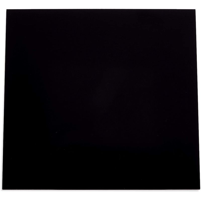 Black Acrylic Sheet, 3mm Blank Sign for Crafts Supplies (12 x 12 in, 2 Pack)