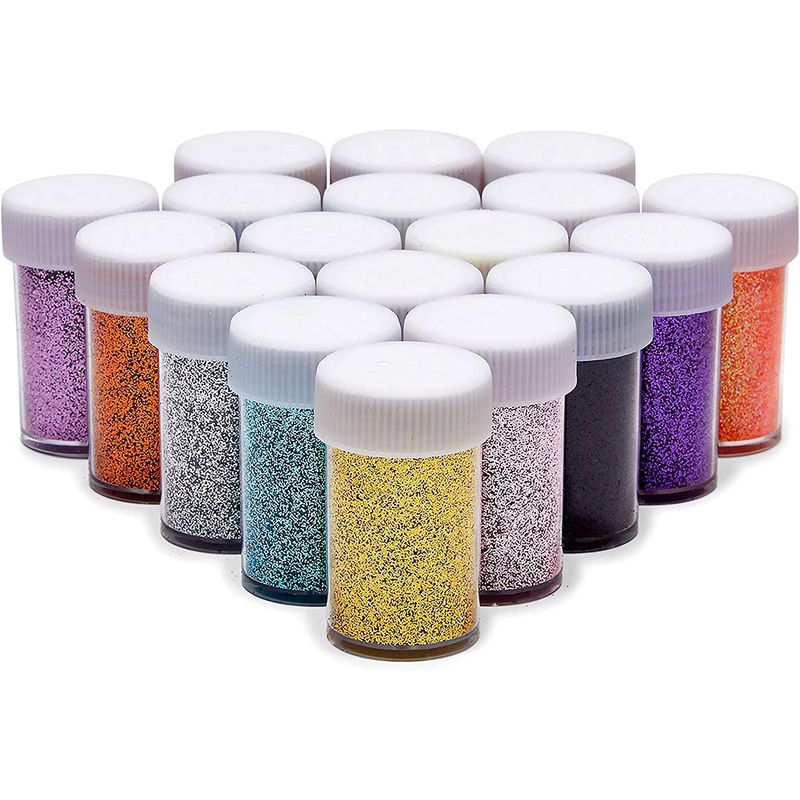 Glitter Powder Shake Jars for Slime, Art, Crafts Supplies, 18 Colors (18 Pack)