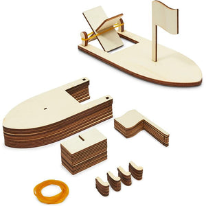 Unfinished Wooden Sailboat, Model Boat with Band Paddle (8 Pack)