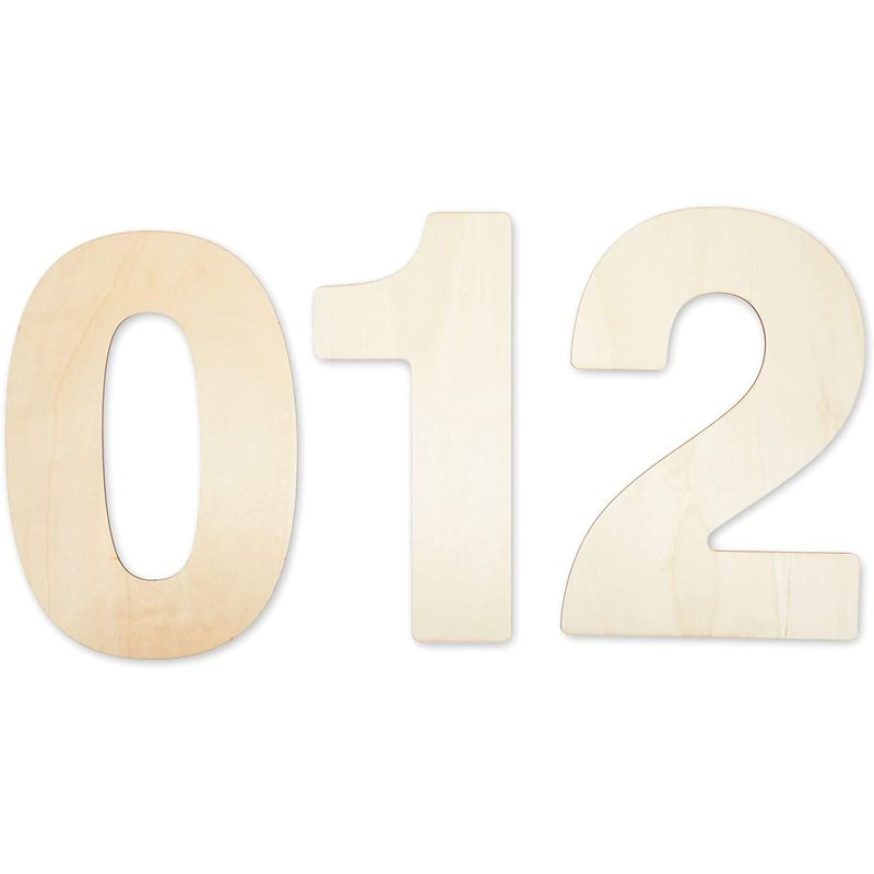 Bright Creations Unfinished Wooden Numbers for Crafts, 0-9 (12 Inches, 10 Pieces)