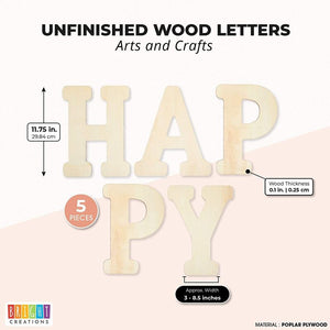 Bright Creations Unfinished Wooden Letters for Crafts, Happy (12 Inches, 5 Pieces)